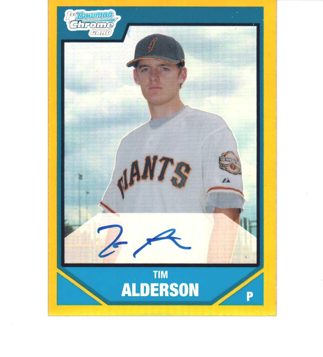 Tim Alderson 2007 Bowman Chrome Draft Picks Gold /50 Refractor Autograph BDPP113