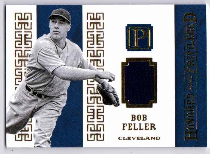 Bob Feller 2016 Pantheon Honored & Privileged Materials Game Used Jersey Gold/25