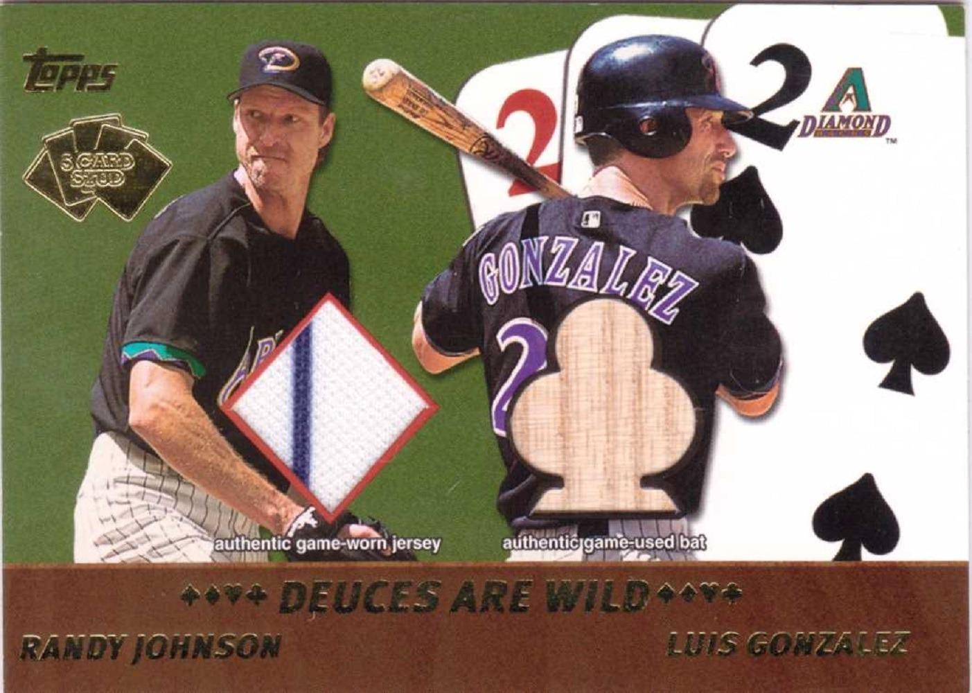 Randy Johnson / Luis Gonzalez 2002 Topps Five Card Stud Deuces Wild Dual Relic