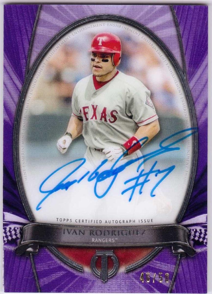 Ivan Rodriguez 2017 Topps Tribute Purple Autograph HOF auto /50 Texas Rangers