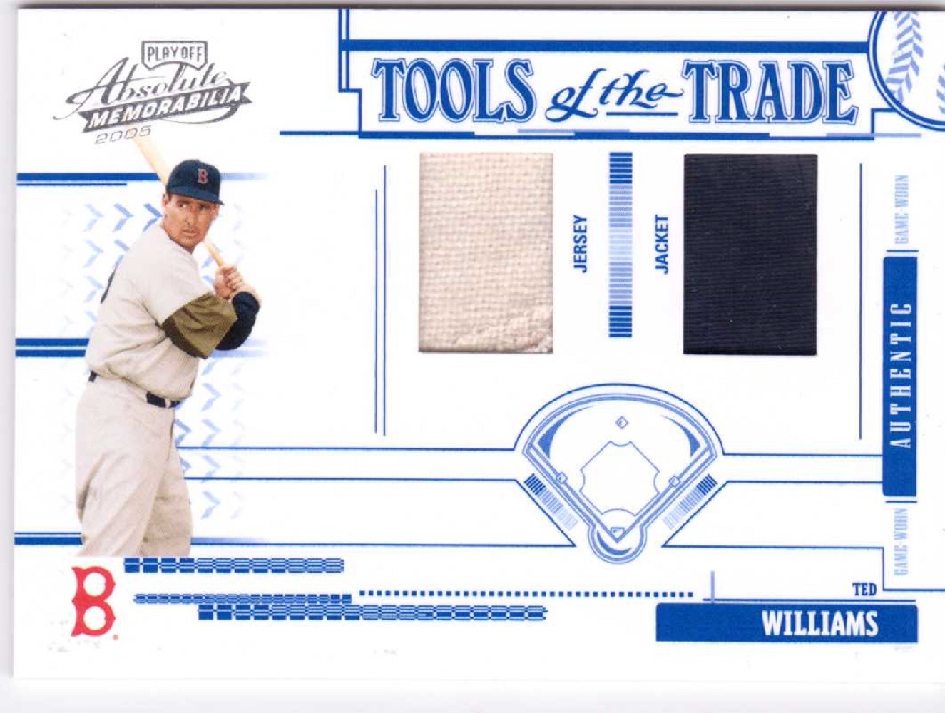 Ted Williams 2005 Absolute Memorabilia Tools of the Trade Swatch#185 Double /100
