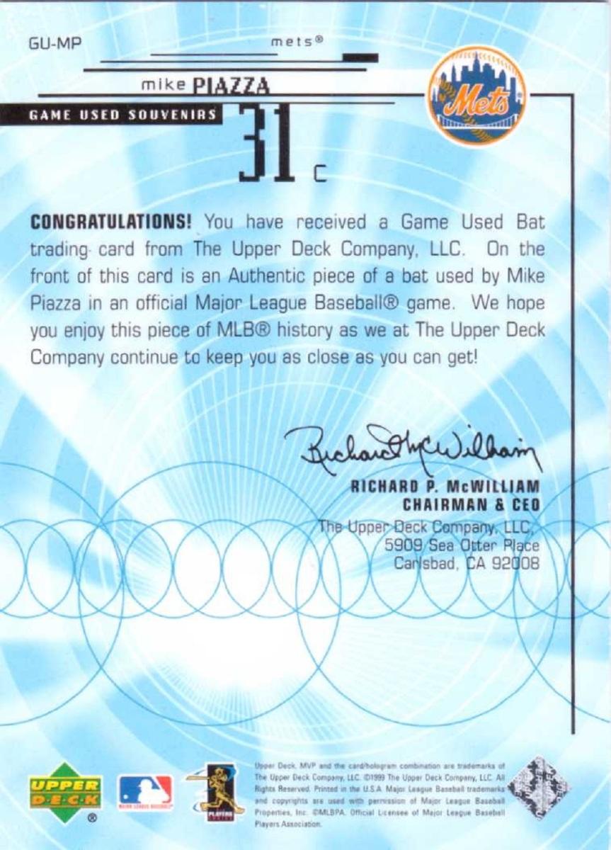 Mike Piazza 1999 Upper Deck Ud Mvp Game Used Souvenirs Bat Relic Gump