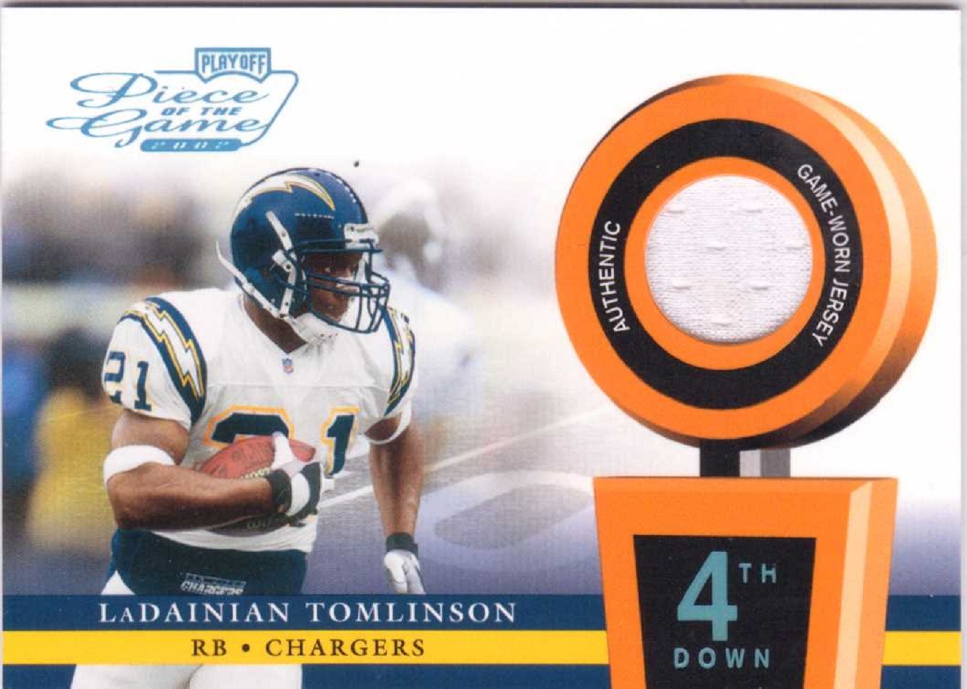LaDainian Tomlinson 2002 Playoff Piece of the Game Materials 4th Down Patch /25
