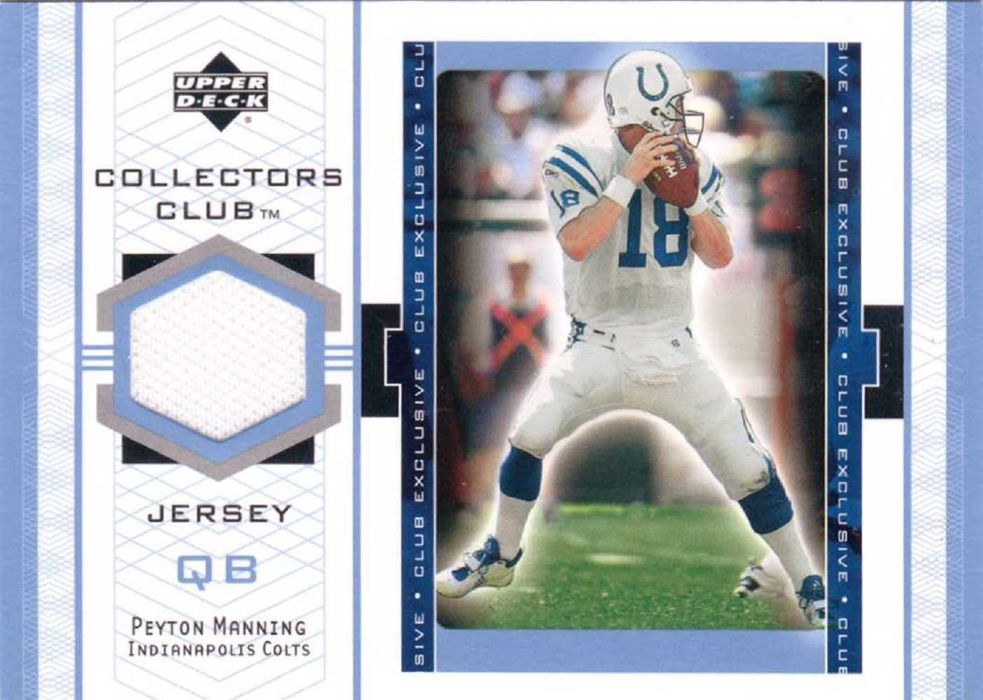 Peyton Manning 2002 Upper Deck UD Collector's Club Jersey Patch Memorabilia #PMJ