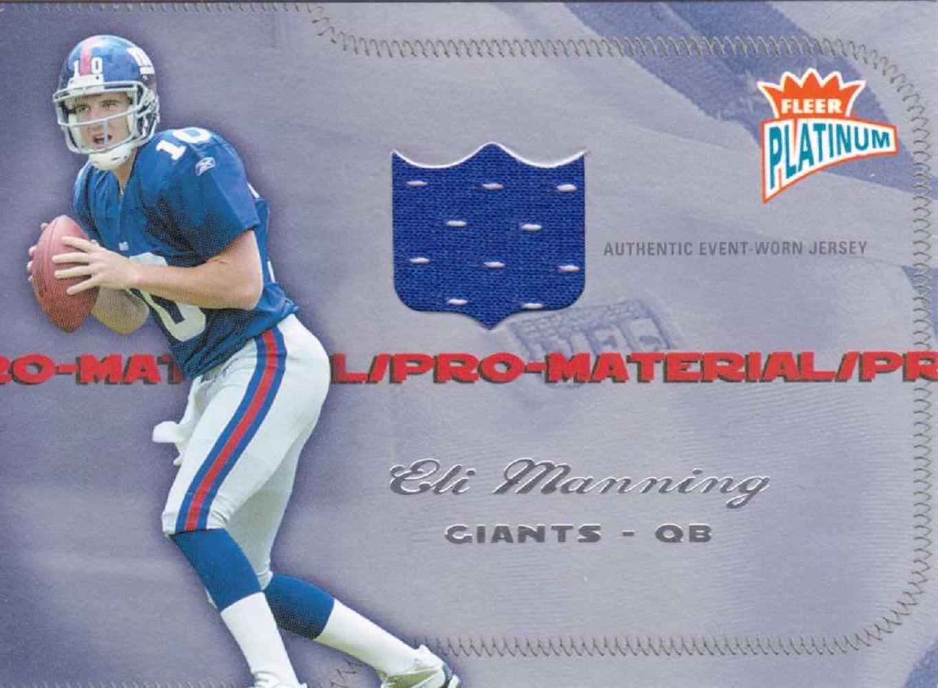2004 Eli Manning Fleer Platinum Pro Material Jersey Relic Rookie RC /250 Giants  (x)