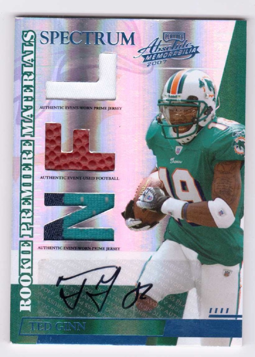 Ted Ginn 2007 Absolute Memorabilia Rookie Autograph Spectrum Platinum Patch /50