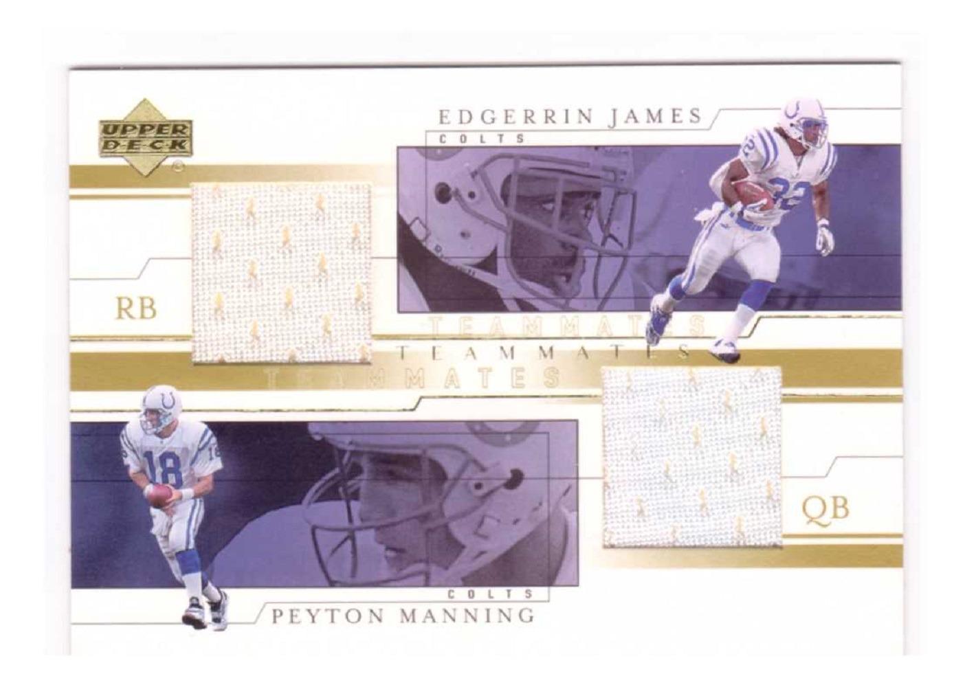 Peyton Manning Edgerrin James 2001 Upper Deck Teammates Dual Jersey Relic #MJT