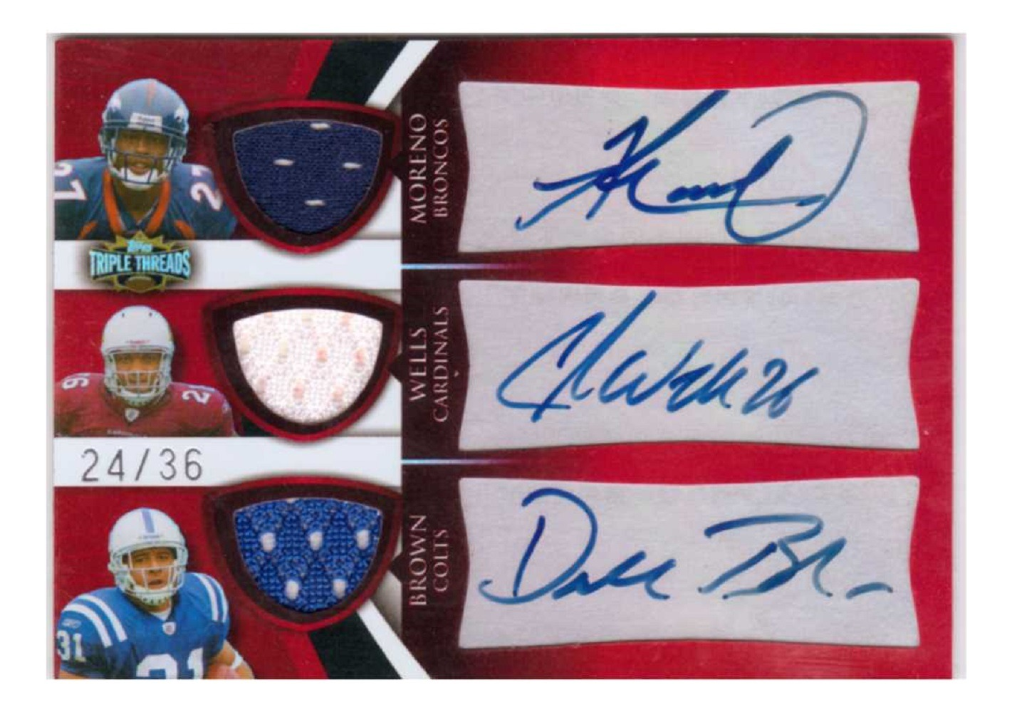 Knowshon Moreno Chris Wells Donald Brown 2009 Triple Threads Autograph Red RC/36 Jersey Relic Rookie Combos Auto Topps