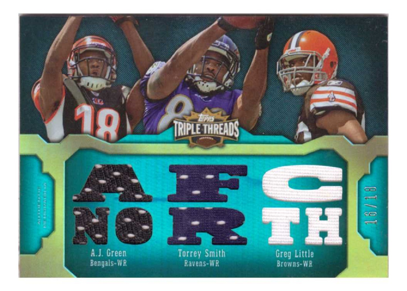 A.J. Green Torrey Smith Greg Little 2011 Topps Triple Threads Sepia #TTRC39  /18