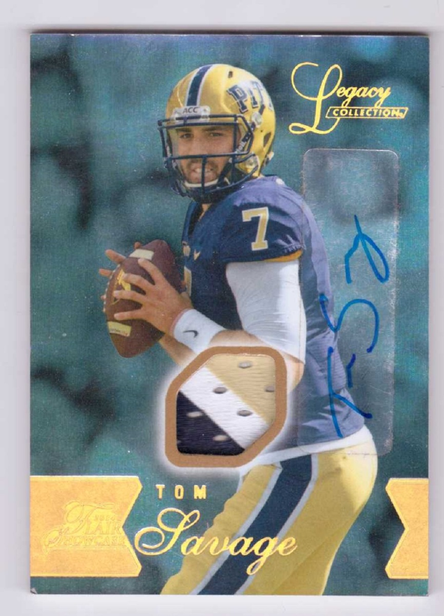 Tom Savage 2014 Flair Showcase Patch Autograph #111 Jersey Auto Relic /125
