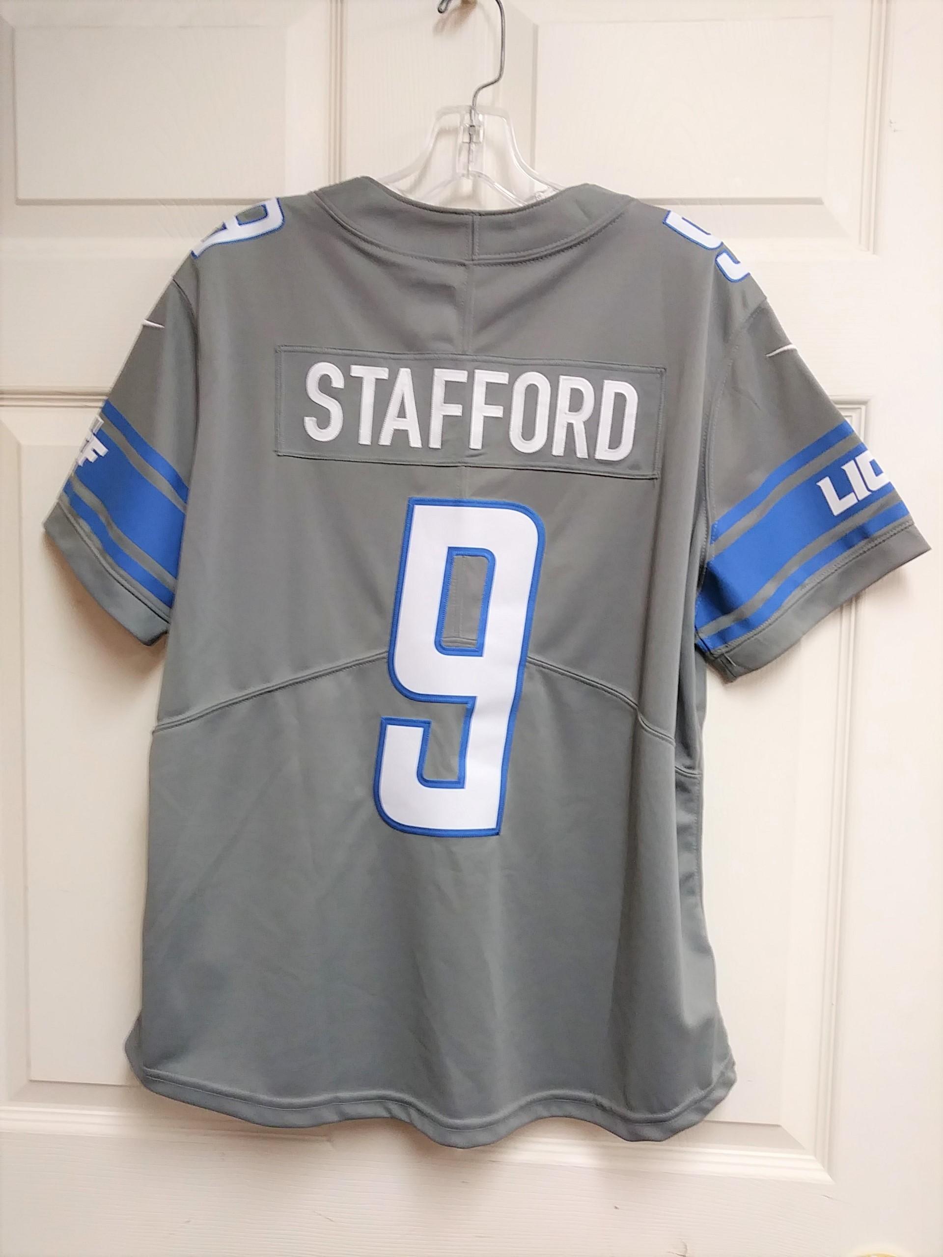 Discount NFL On Field Matthew Stafford #9 Detroit Lions Gray Dri Fit Jersey  hot sale