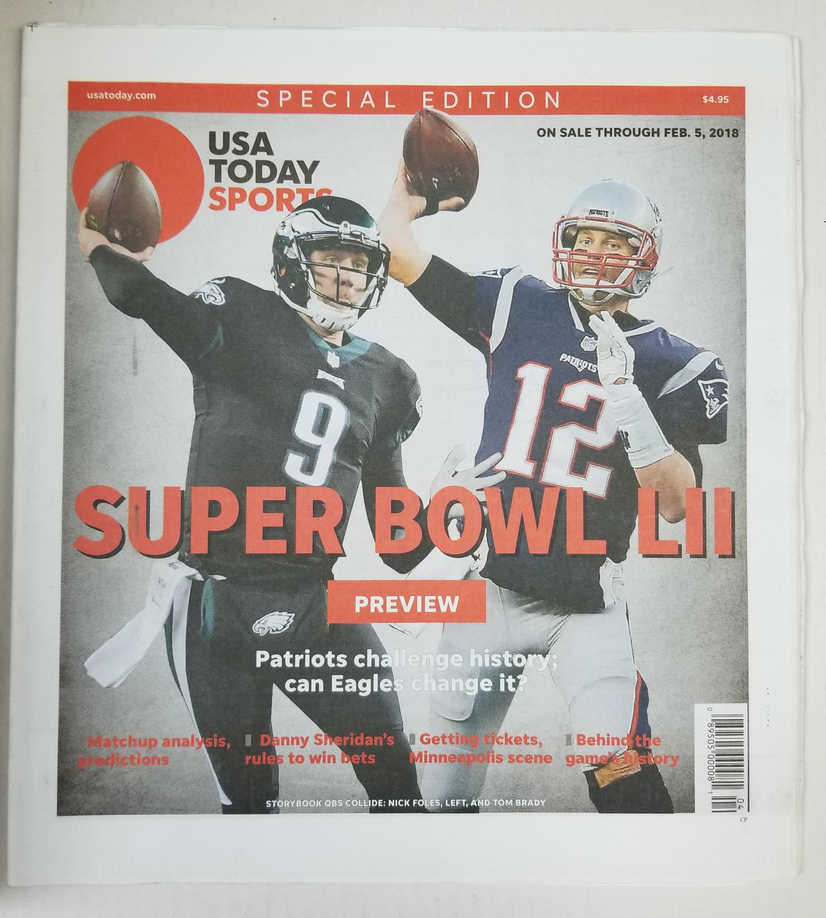 Tom Brady Nick Foles USA Today Sports Special Edition Super Bowl LII