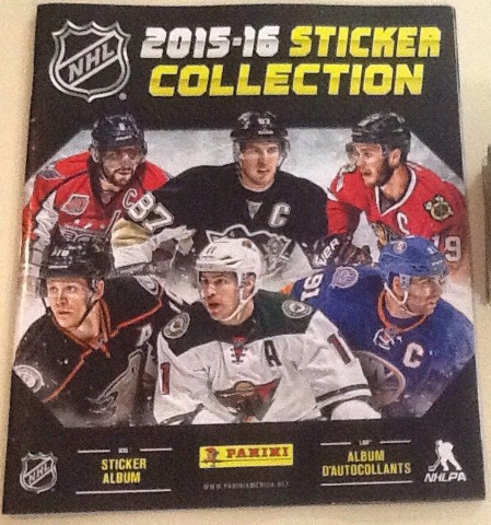 2015/16 PANINI NHL STICKER COLLECTION 72 PAGE ALBUM & 2 SEALED STICKER PACKS