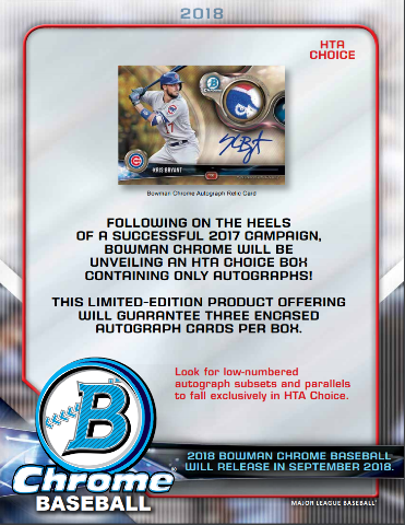 2018 Bowman Chrome Baseball HTA Choice 12 Box CASE (Factory Sealed)