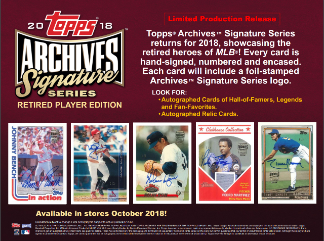 2018 Topps Archives Signature Series Retired Baseball Hobby 1 Card/Box (Sealed)