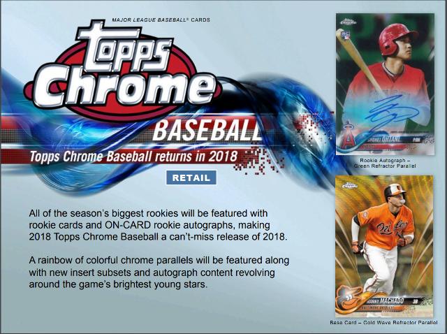 2018 Topps Chrome Baseball Blaster Box (Sealed)