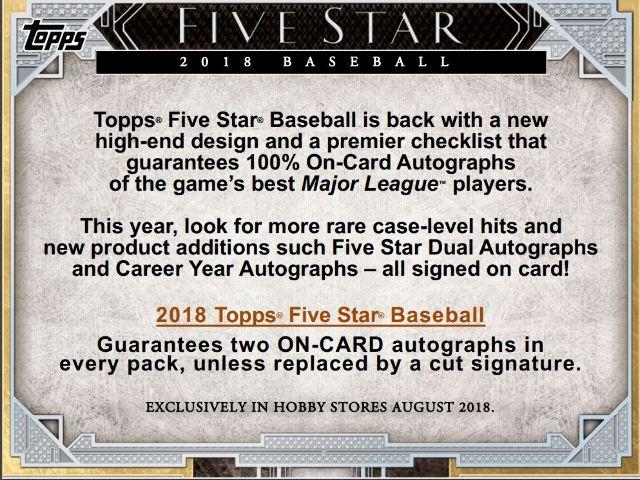 2018 Topps Five Star Baseball Hobby 2 Card BOX (1 Pack)(Sealed) Release 10/17