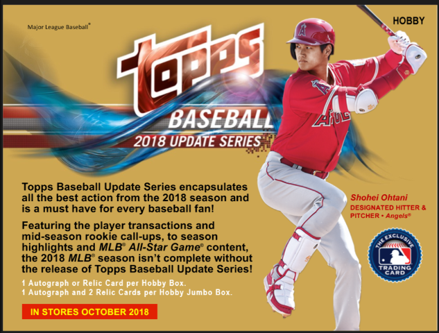 2018 Topps Update Series Baseball Jumbo Hobby 10 Pack Box 2 Silver Pack Sealed