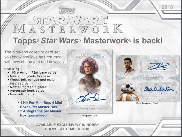 2018 Topps Star Wars Masterwork Trading Cards 4 Pack Hobby Box (Sealed)