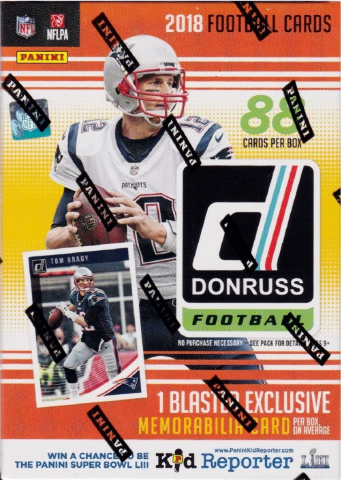 2018 Donruss Football 11 Pack Sealed Blaster Box w/1 EXCLUSIVE Memorabilia Card