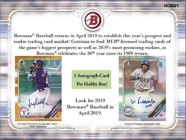 2019 Bowman Baseball Hobby 12 Box CASE (Factory Sealed)