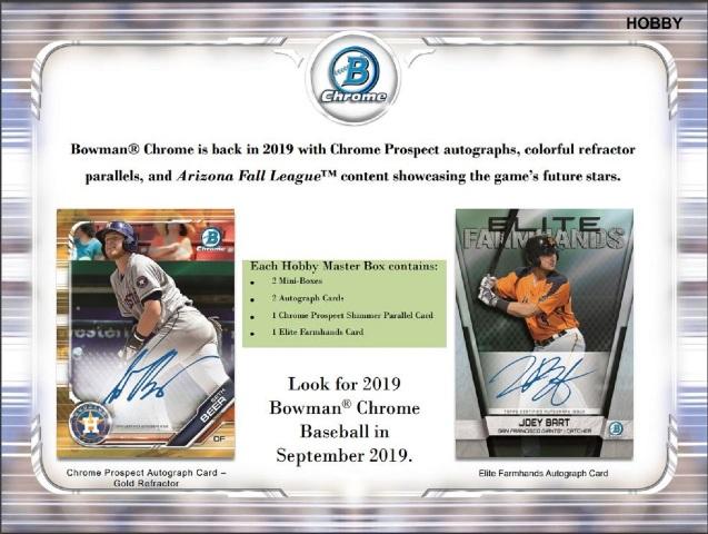 2019 Bowman Chrome Baseball Hobby 12 Master Box CASE (Factory Sealed)