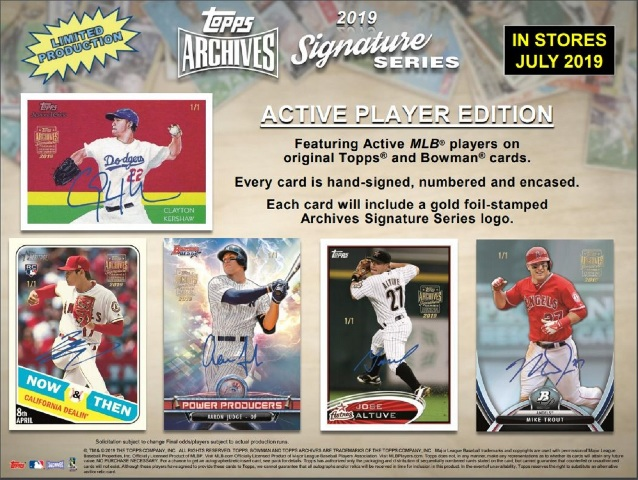 2019 Topps Archives Signature Series Active Baseball Hobby 1 Card Box (Sealed)