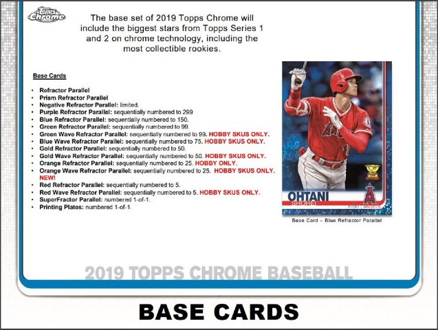 2019 Topps Chrome Baseball Hobby 24 Pack BOX (Factory Sealed)(Random)