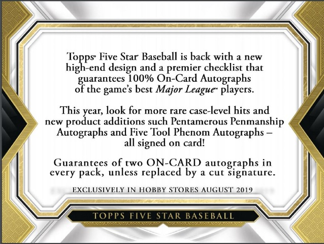 2019 Topps Five Star Baseball Hobby 2 Auto BOX (Sealed)