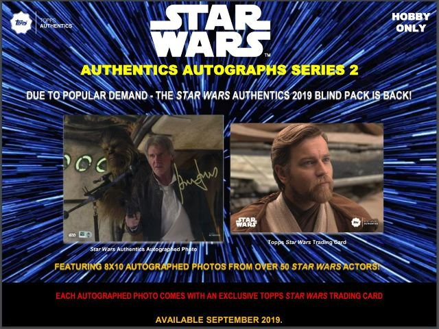 2019 Topps Star Wars Authentics Series 2 Signed Photo & Trading Card 12 Box Case