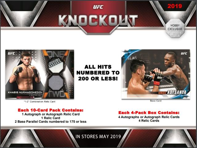 2019 Topps UFC Knockout Hobby 12 Box Case (Factory Sealed)(96 Hits)