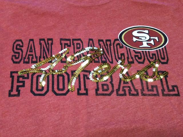 NFL Team Apparel Womens San Francisco 49ers Red/Dark Pink Shirt Gold Sequins L
