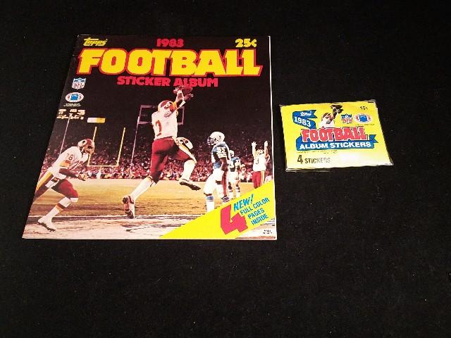 1983 Topps NFL Football Sticker Collection Album & 9 Sticker Packs