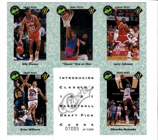 Lot of 2 1991 Classic Basketball Draft Pick Cards Promo Sheets /10000