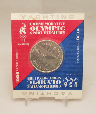 1996 Atlanta Olympics Commemorative Sport Medallion Coin - Yachting -NOS NIP