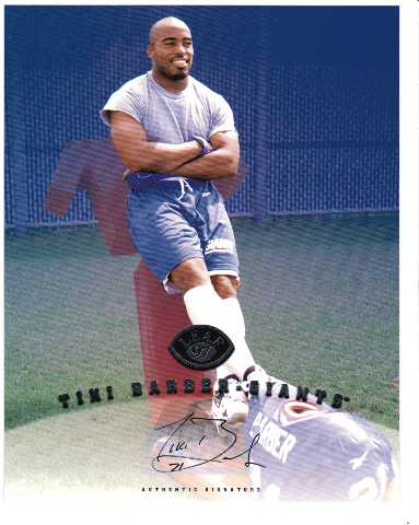 1997 Leaf Authentic Signatures 8x10 Card Tiki Barber New York Giants Auto