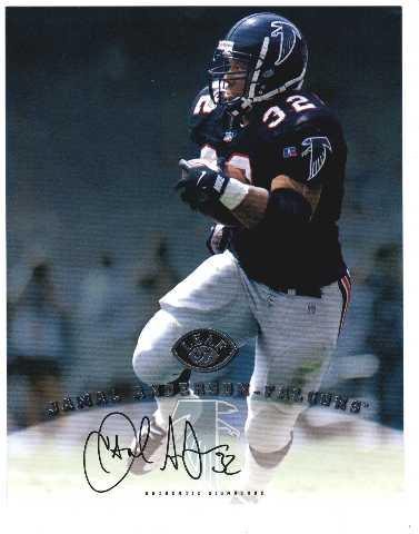 1997 Leaf Authentic Signatures 8x10 Card Jamal Anderson Atlanta Falcons Auto