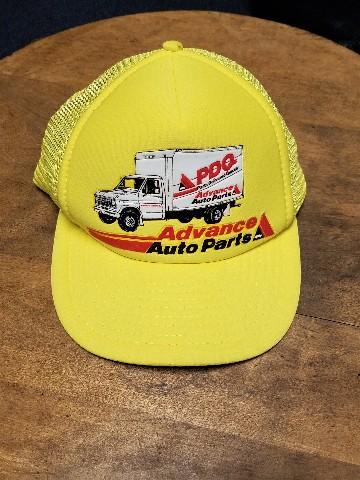 Vintage Advance Auto Parts Yellow Trucker Hat Snapback Cap NASCAR Racing