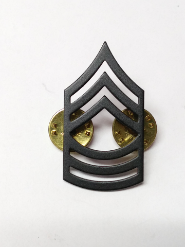 Vanguard Army Master Sergeant Chevron Black Subdued Metal Rank Insignia - 1 Pin