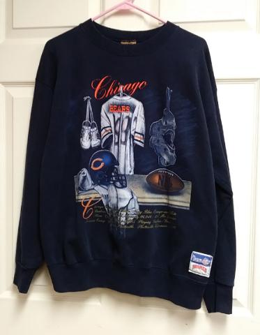 Vtg Nutmeg Navy Blue Chicago Bears Sweatshirt  Womens Size L Football NFL