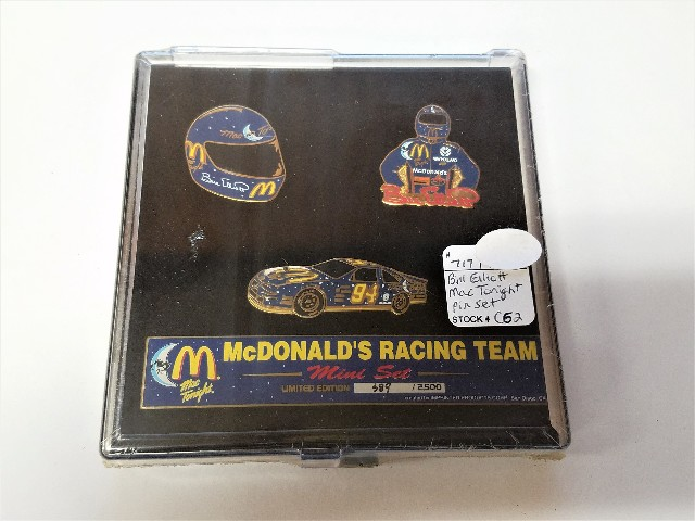 McDonald's Racing Team Bill Elliott Mac Tonight 3-Pin Set 389/2500 Sealed