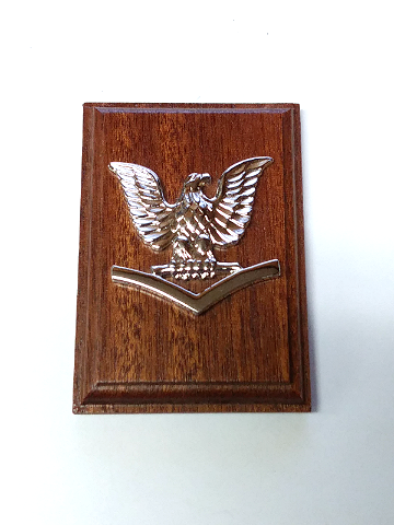 US Navy USN Petty Officer E-4 Coat Device Rank Insignia Mounted On Wood