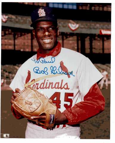 Bob Gibson 8x10 Photo Autographed TO PAUL St. Louis Cardinals MLB