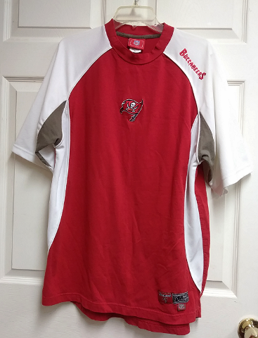 NFL Red & White Tampa Bay Buccaneers Jersey Shirt Sz L Football NFC South