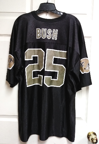 NFL Players Reggie Bush #25 Black Gold New Orleans Saints Jersey Shirt Sz 2XL