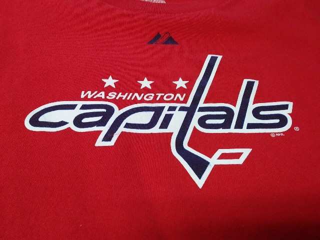 Majestic Red Washington Capitals Graphic T-Shirt Size XL NHL Hockey
