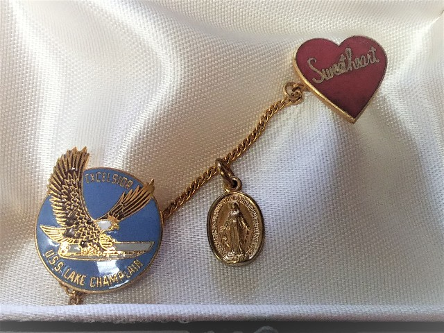 Crest-Craft Frat Pin Sweetheart with USS Lake Champlain