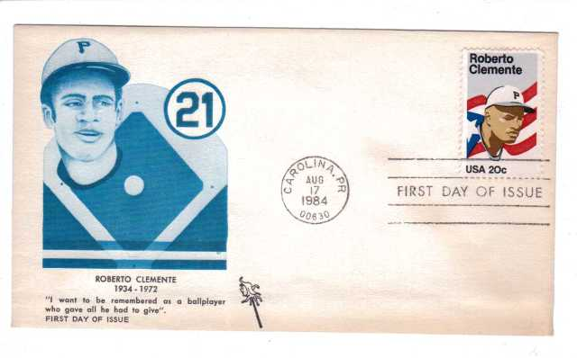 US 1984 Roberto Clemente First Day Cover Envelope & 20c Stamp - Blue Picture