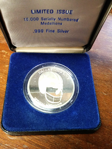 Dallas Cowboys Official 25th Anniversary Silver Commemorative Medallion Ltd Ed