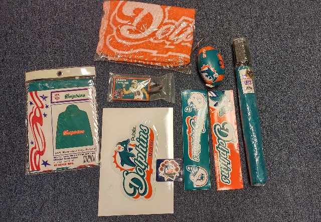 Miami Dolphins Fan Collectibles Lot Umbrella Poncho Mini Football Towel Etc